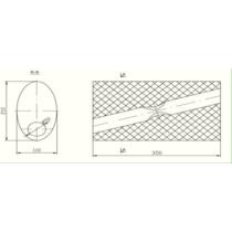 Univerzális ovál kipufogódob, O50, 350x210x120mm, 1beeltolt1kiátlóseltolt