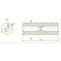 Univerzális ovál kipufogódob, O50, 350x210x120mm, 1be2ki