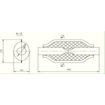 Univerzális ovál kipufogódob, O50, 350x210x120mm, 1beeltolt2ki