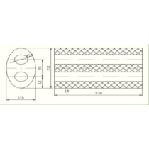 Univerzális ovál kipufogódob, O50, 350x210x120mm, 1beeltolt1ki