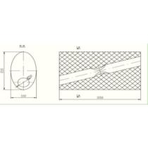 Univerzális ovál kipufogódob, Ø60, 350x210x120mm, 1be2ki