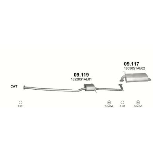Kipufogódob, hátsó, Honda Accord 1.6-2.3, 1998.01-2002.12 (kifutó cikk)