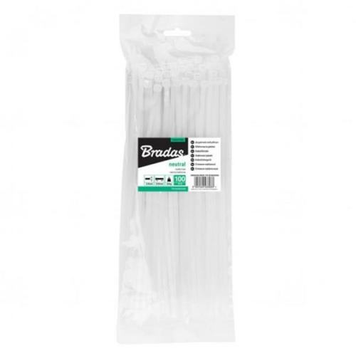 Kábelkötegelő, gyorskötöző, 3,6x200mm, fehér (100db)