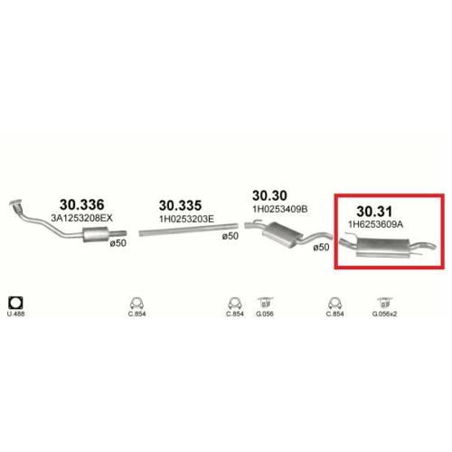 Kipufogódob, VW.Golf III 1.8/2.0/1.9TD hát (kifutó cikk)