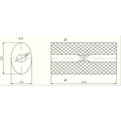 Univerzális ovál kipufogódob, O50, 350x210x120mm, 1beeltolt1kieltolt
