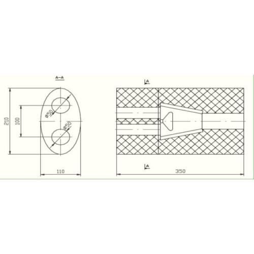 Univerzális ovál kipufogódob, Ø50, 350x230x120mm, 1be2ki