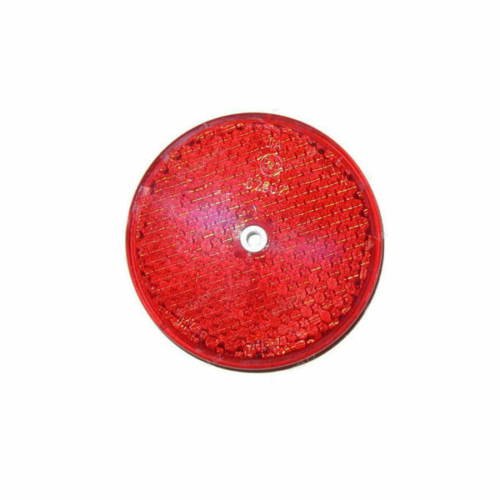 Prizma, kerek, piros, furattal, O80mm